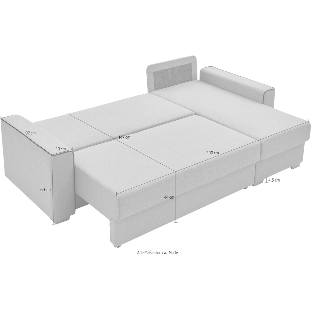ATLANTIC home collection Ecksofa »JORDAN«, mit Taschenfederkern, Bettfunktion, Bettkasten und beidseitig montierbarer Recamiere