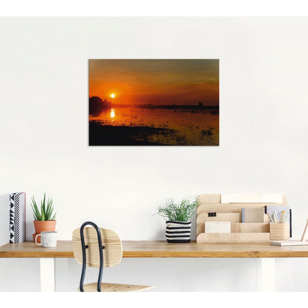 Artland Wandbild »Sonnenuntergang am Fluss Chobe«, Afrika, (1 St.), in vielen Größen & Produktarten - Alubild / Outdoorbild für den Außenbereich, Leinwandbild, Poster, Wandaufkleber / Wandtattoo auch für Badezimmer geeignet
