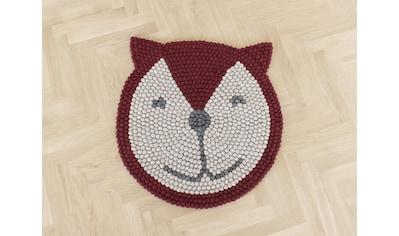 Wooldot Kinderteppich »Fuchs«, rund, 23 mm Höhe, Filzkugelteppich, 100 % Wolle,... kaufen