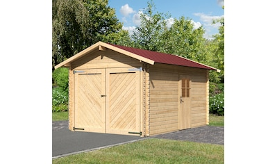 KARIBU Garage »Stephan«, BxT: 338x489 cm, Einfahrtshöhe: 193 cm, mit Dachschindeln kaufen