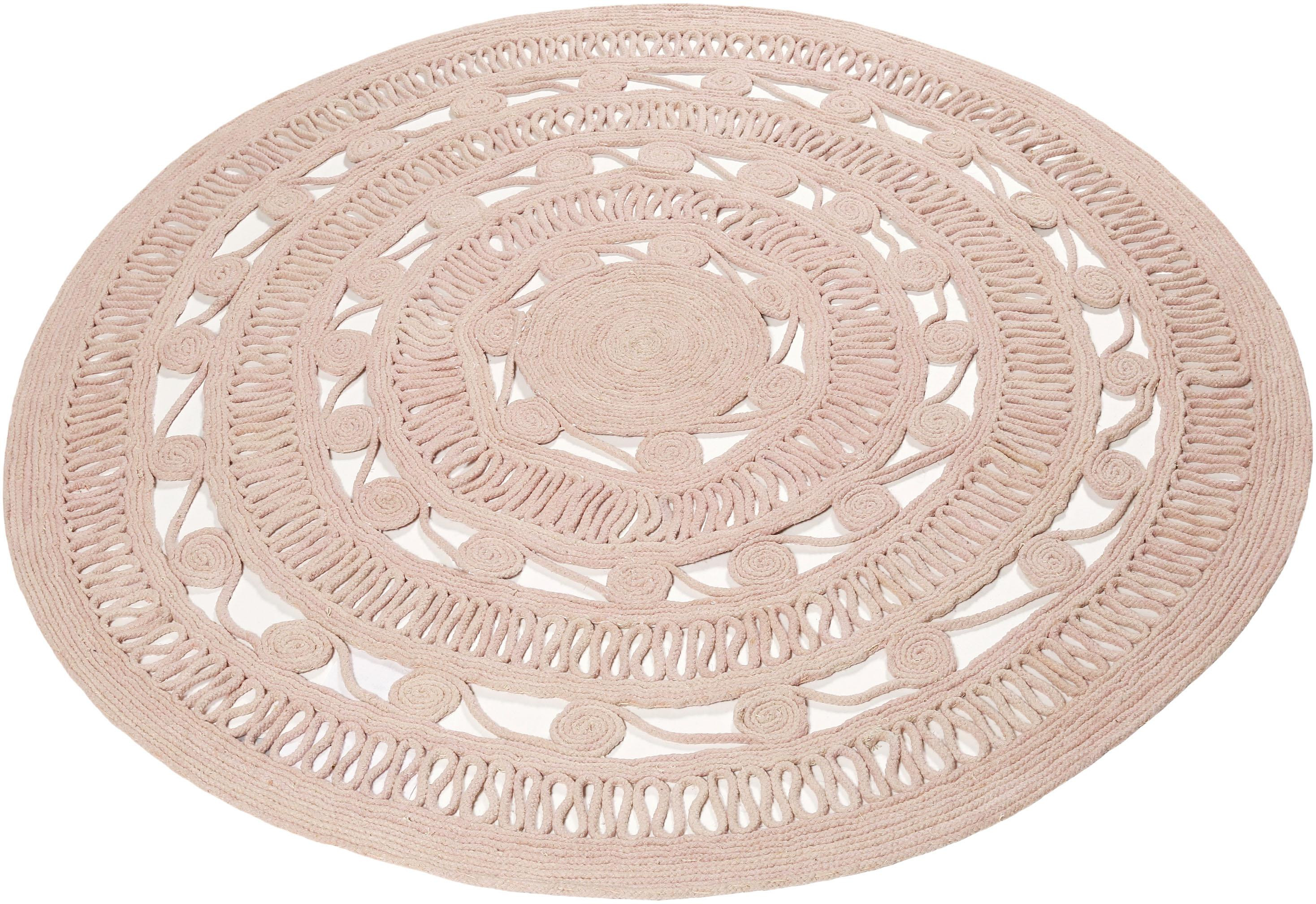 Teppich Crochet Style Esprit rund Höhe 8 mm handgewebt
