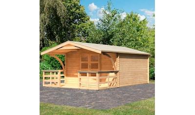 WOODFEELING Set: Gartenhaus »Bayreuth 6«, BxT: 406x562 cm, mit Vordach und Terrasse kaufen