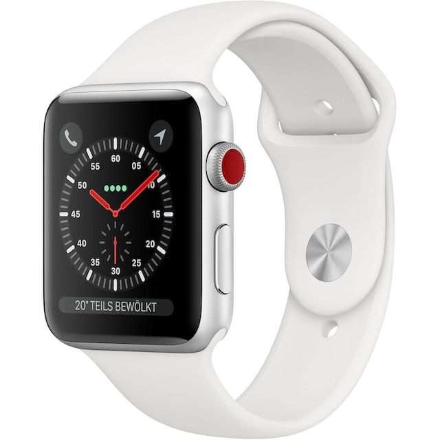Apple Series 3 GPS + Cellular, Aluminiumgehäuse mit Sportarmband 42mm Watch (Watch OS 5)