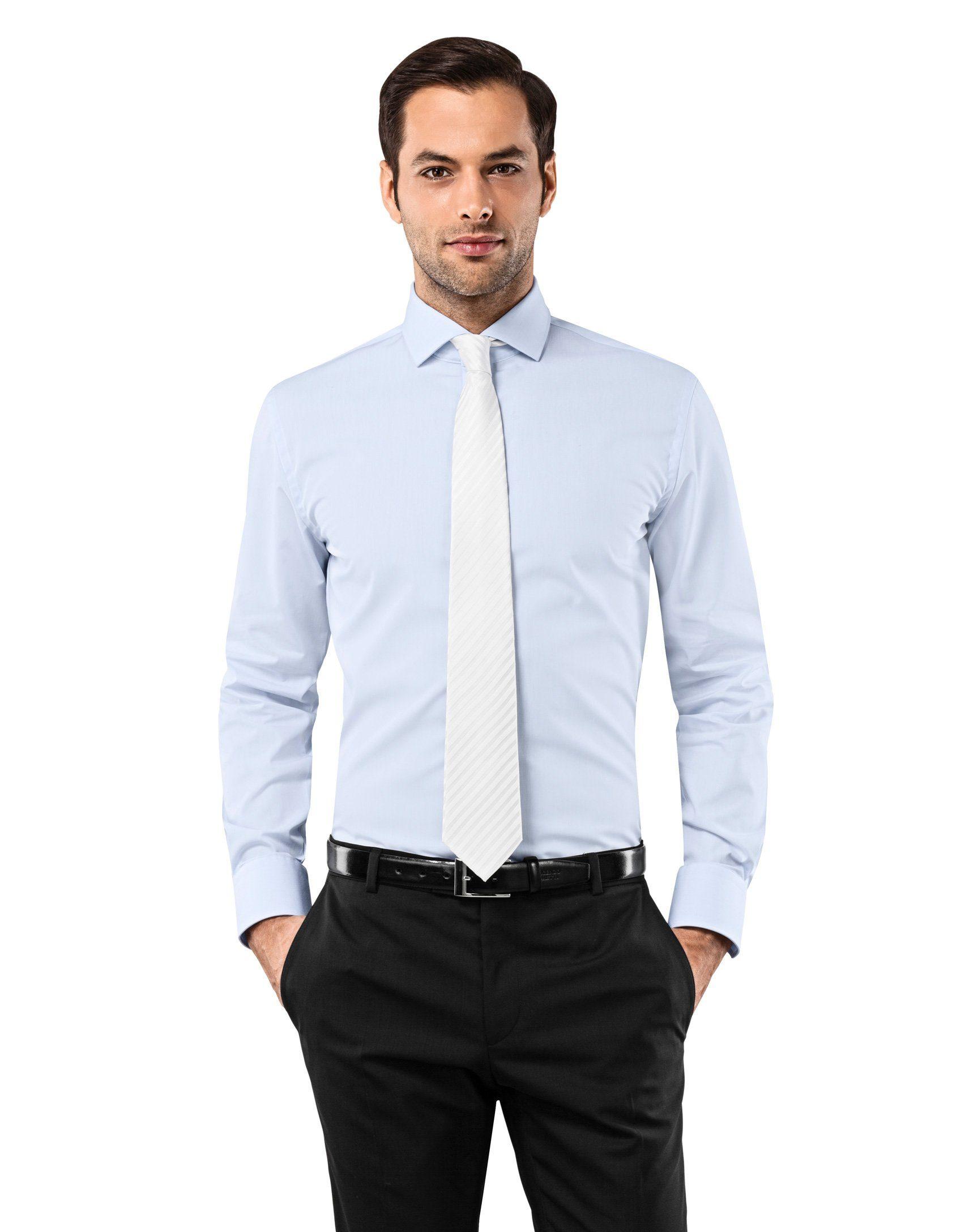 Vincenzo Boretti Business-Hemd im Slim Fit-Schnitt mit bügelfreier Eigenschaft | Bekleidung > Hemden > Business Hemden | Blau | Baumwolle | Vincenzo Boretti