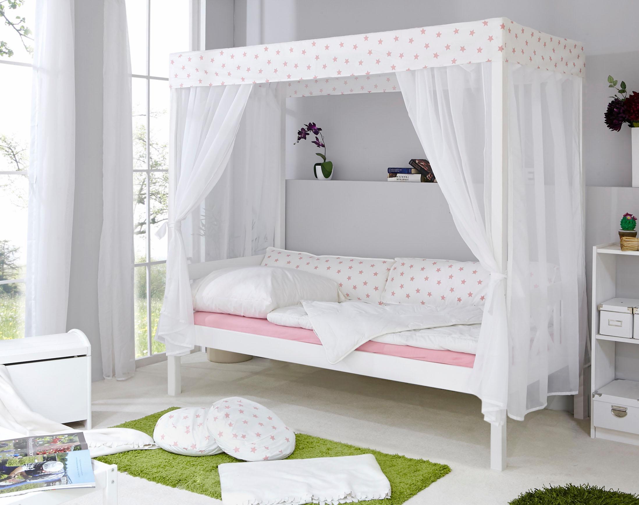 Ticaa Einzel-/Himmelbett Lino in diversen Breiten Kiefer   Schlafzimmer > Betten > Himmelbetten   Weiß   Kiefer   Ticaa