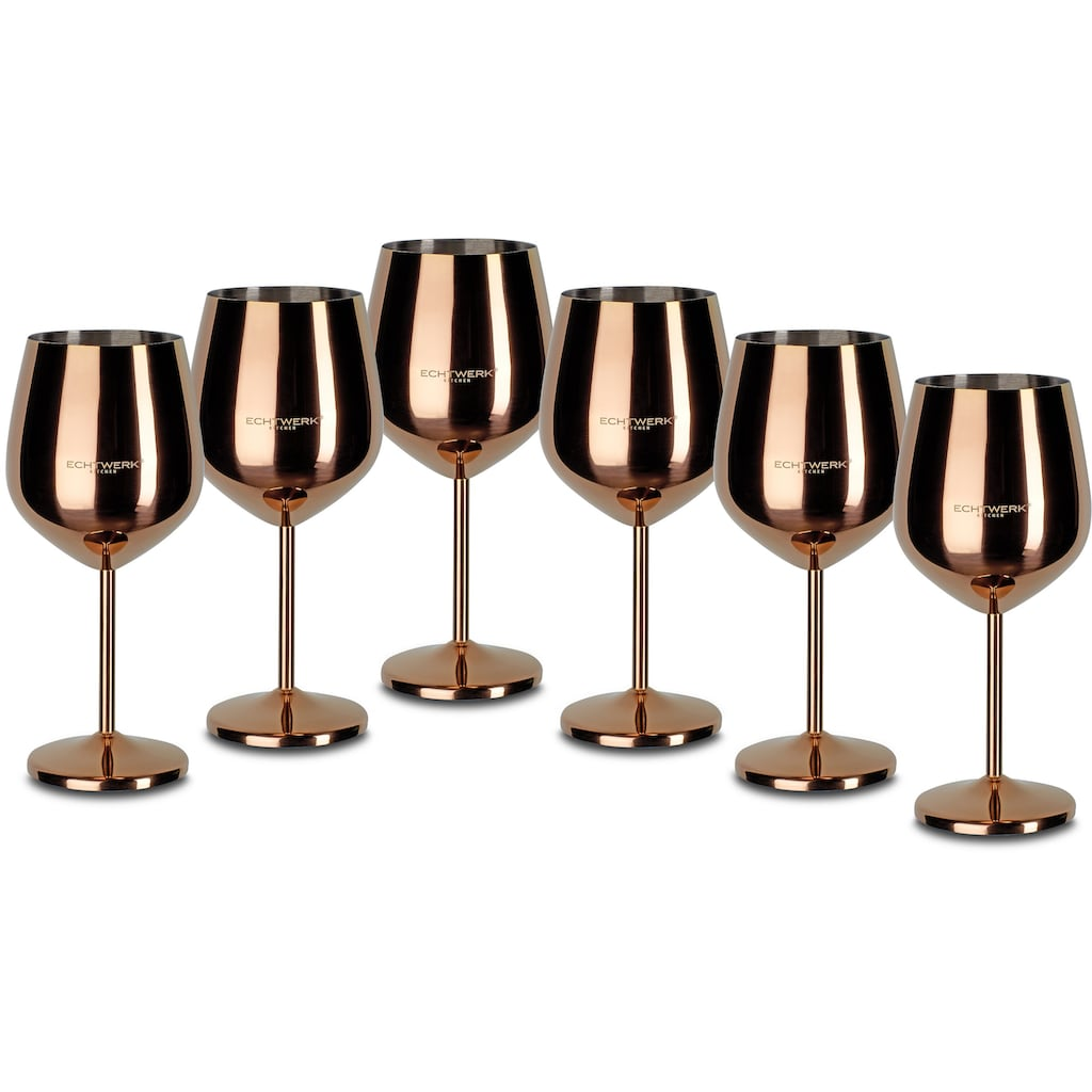 ECHTWERK Weinglas, (Set, 6 tlg.), Edelstahl, PVD Beschichtung