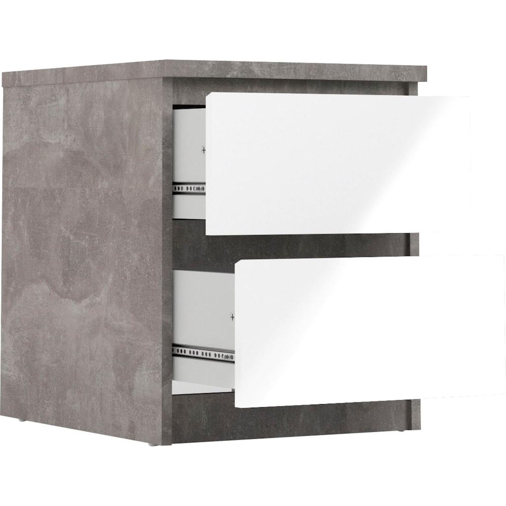Home affaire Nachttisch »Naia«, grifflos, in verschiedenen Farbvarianten, Schubladen auf Metallgleiter