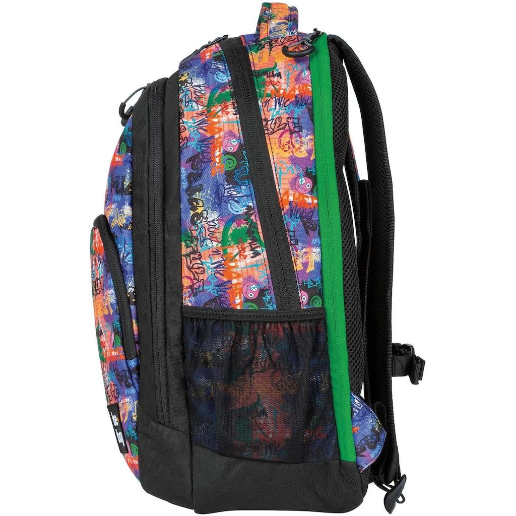 Pelikan Schulrucksack »be.bag be.ready, street art«, Reflektionsnähte-reflektierende Streifen auf den Schultergurten