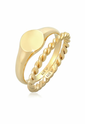 Elli Ring-Set »Sigelring Basic Bandring Twist 2er Set 925 Silber« kaufen
