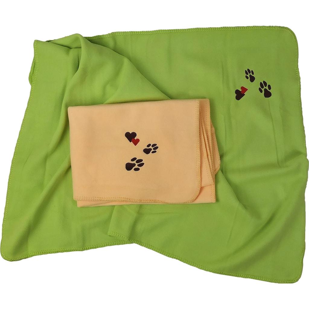 Kneer Wohndecke »Pfoten«, Fleecedecke für Mensch und Hund mit Stickerei