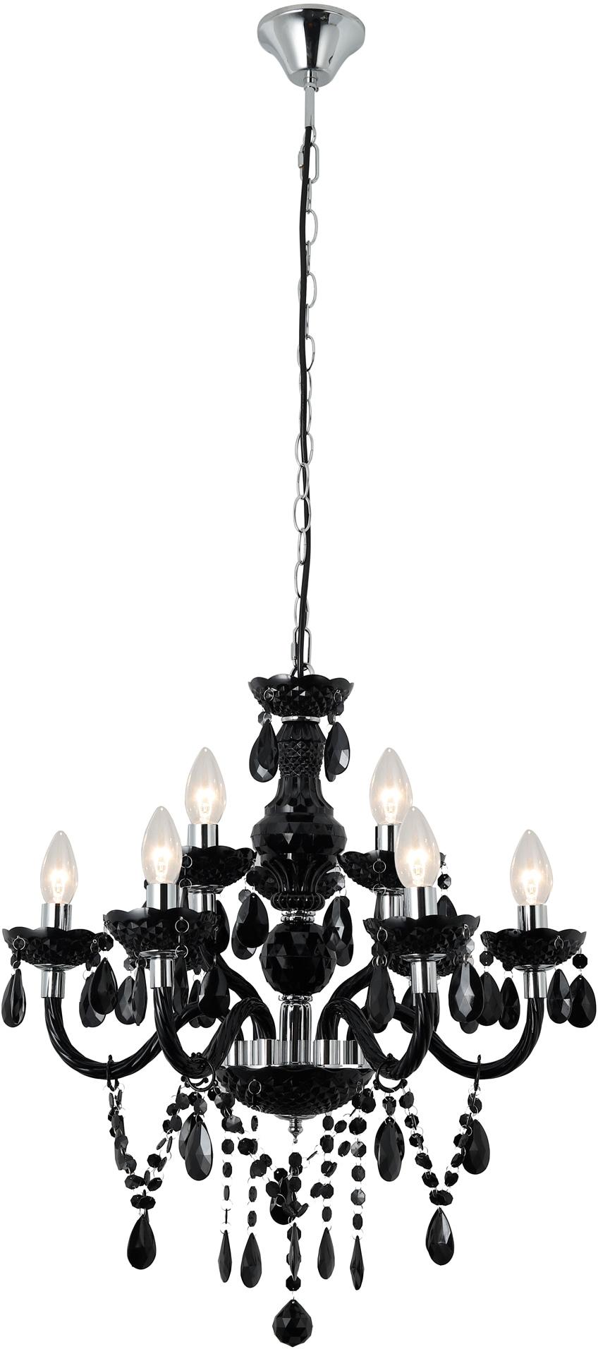 SalesFever Kronleuchter Matteo, E14, 9 Flammen aus schwarzem Acryl-Glas