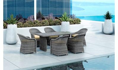 BAIDANI Gartenmöbelset »Spring «, 7 - tlg., 6 Stühle, Tisch 90x180 cm, inkl. Auflage kaufen