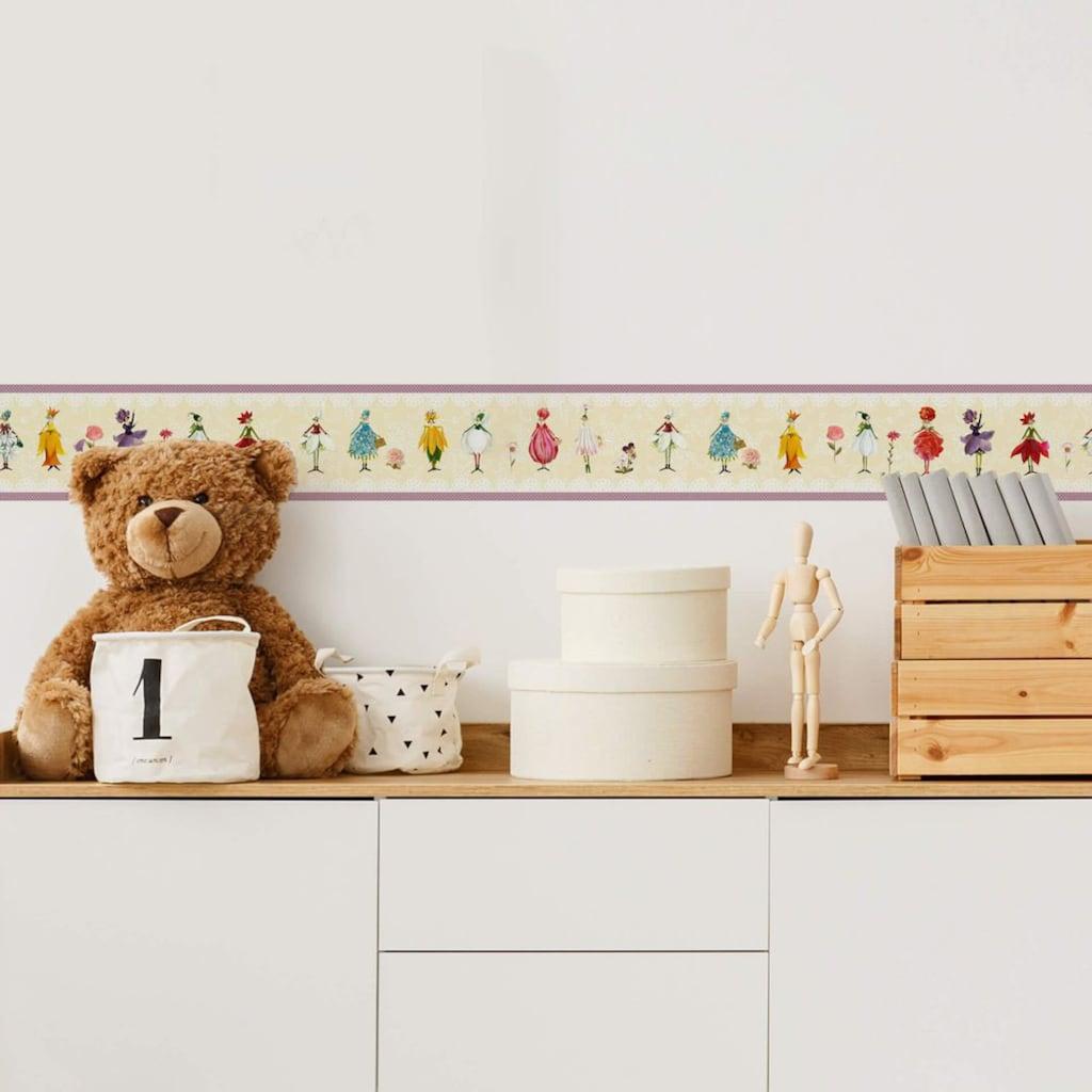 Wall-Art Wandtattoo »Schlafzimmer Bordüre Blumen Elfe«