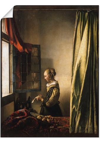 Artland Wandbild »Briefleserin am offenen Fenster. Um 1658«, Frau, (1 St.), in vielen... kaufen
