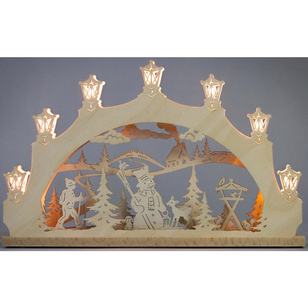 Weigla Schwibbogen »Schneemann im Wald«, 7-flammig