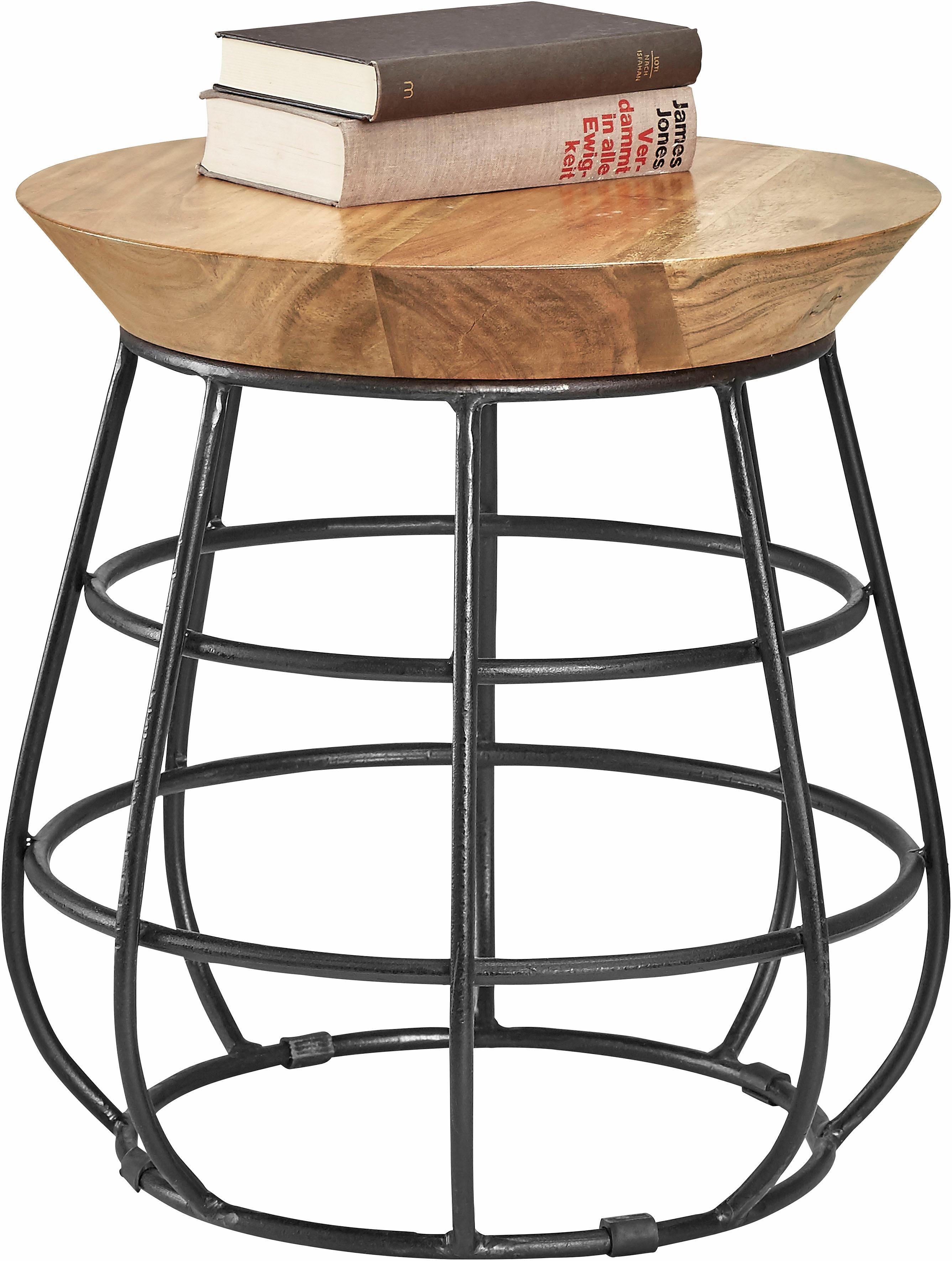 Home affaire Beistelltisch, mit Metall-Gestell braun Beistelltische Tische Beistelltisch