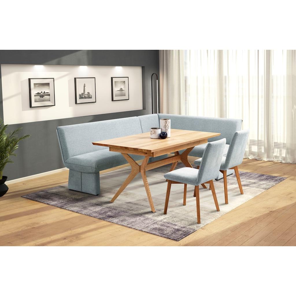 Premium collection by Home affaire Eckbankgruppe »London«, (4 tlg.), Eckbank mit Wellenunterfederung im Sitz, langer Schenkel Breite 240 cm, Tisch ausziehbar, Breite 160-210 cm
