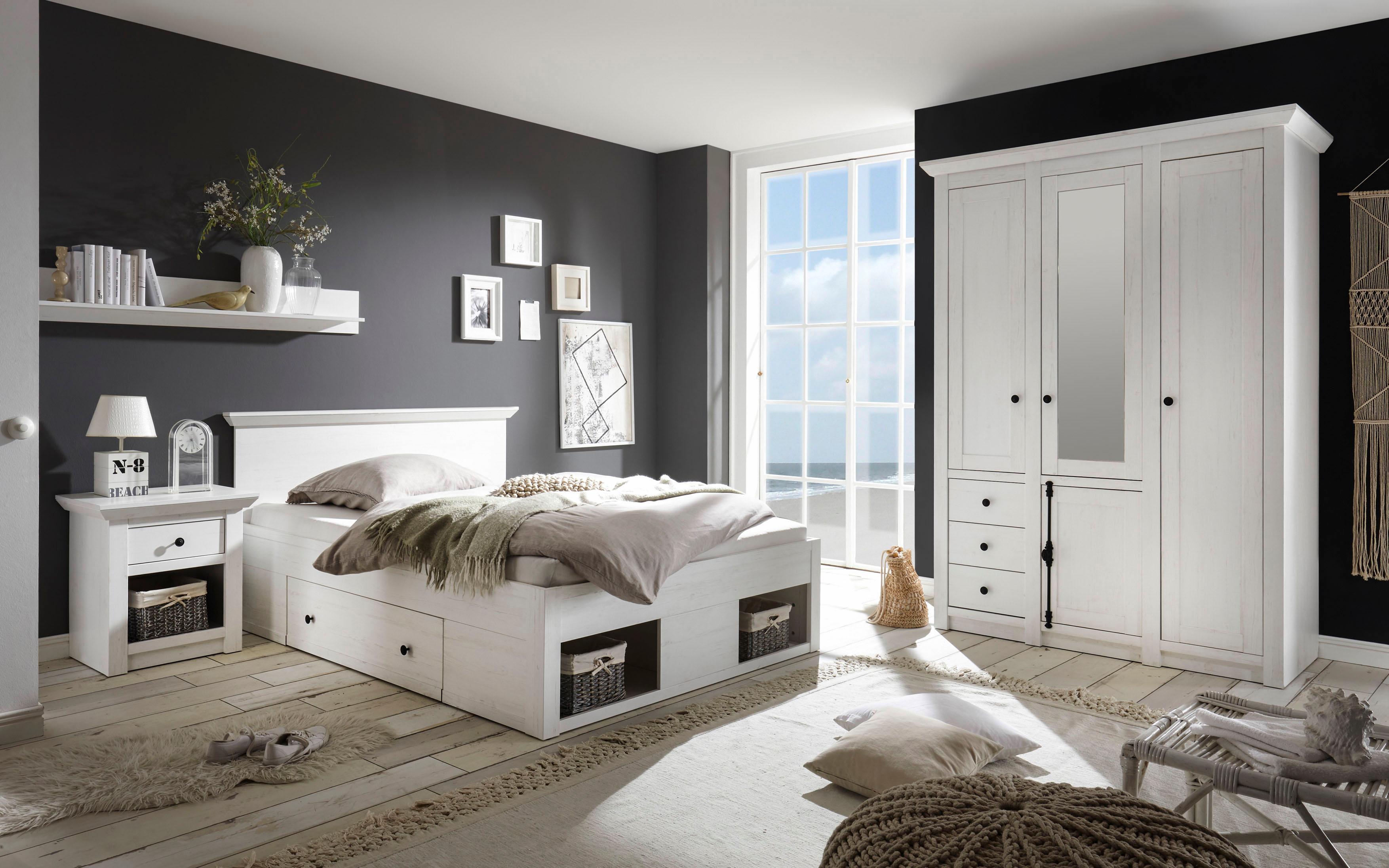 Schlafzimmer-Set «Serie California», 3-teilig: 1 Bett 140 cm, 1 Nachttisch und 3-trg Kleiderschrank