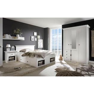 Schlafzimmer Set Serie California 3 Teilig 1 Bett 140 Cm 1 Nachttisch Und 3 Trg Kleiderschrank