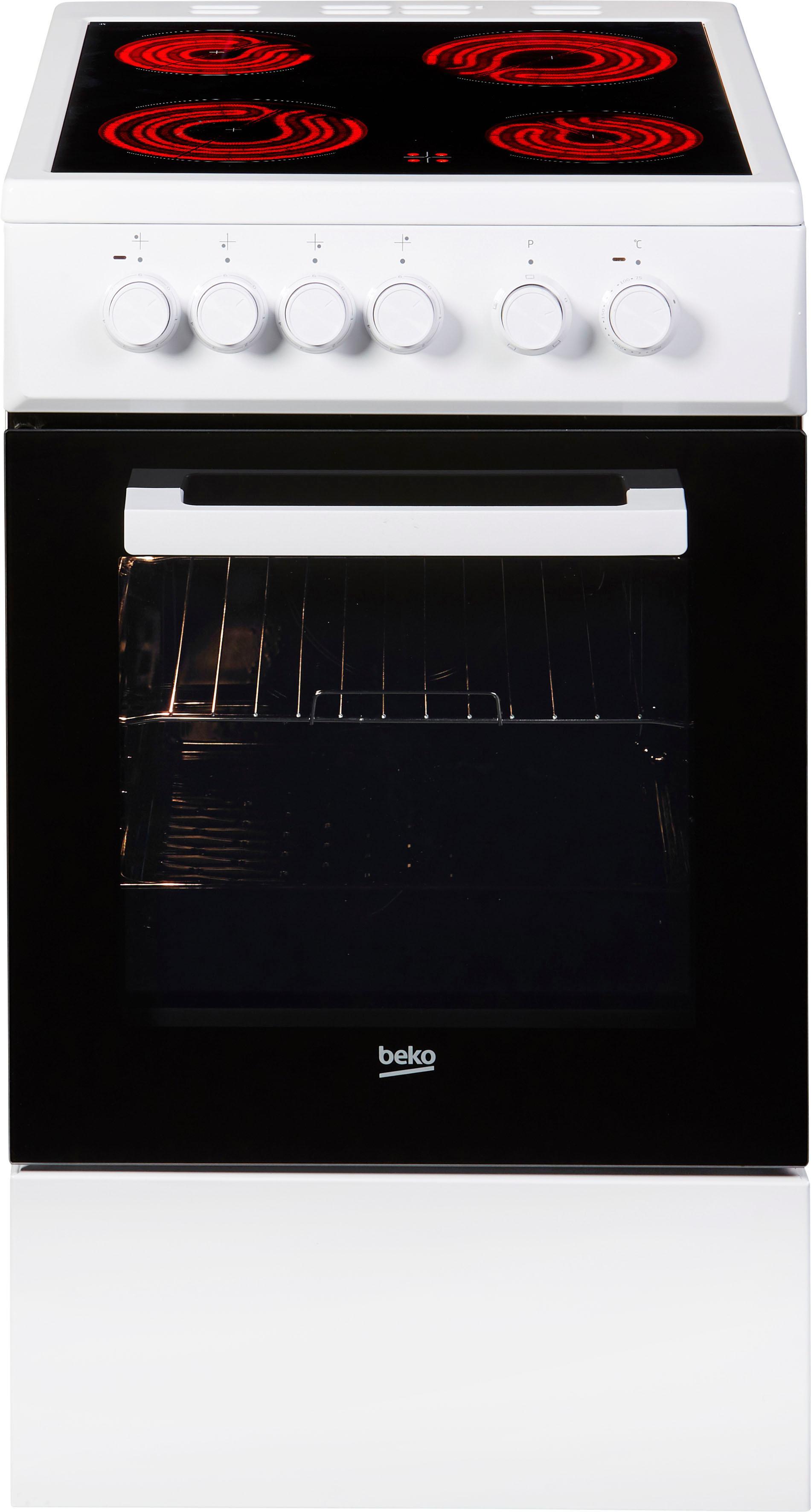 BEKO Elektro-Standherd FSS57000GW, FSS57000GW, mit Backauszug, Simple Steam Reinigungsfunktion, mit Kleinflächengrill