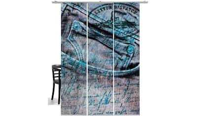 Schiebegardine, »Jeans«, emotion textiles, Klettband 3 Stück kaufen