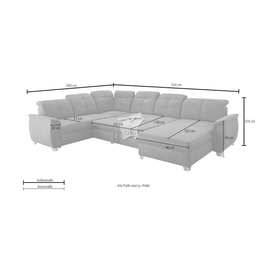 Jockenhöfer Gruppe Wohnlandschaft »Livorno«, mit 7 individuell verstellbaren Kopfteilen, Bett- und Relaxfunktion, Nosagfederung, Ottomane beidseitig montierbar