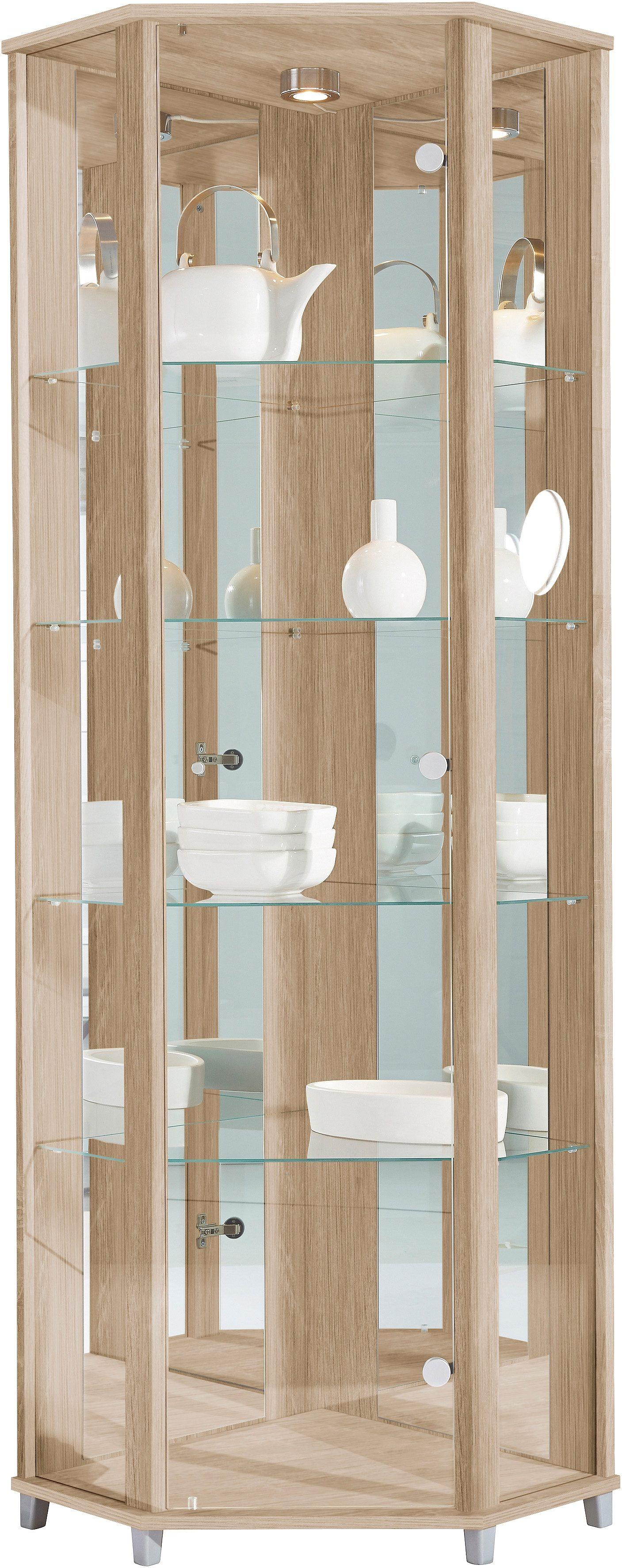 Eckvitrine, Höhe 172 cm, 4 Glasböden | Wohnzimmer > Vitrinen > Eckvitrinen | Braun | Melamin