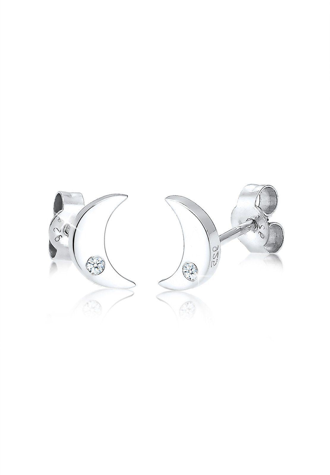 Elli Paar Ohrstecker Halbmond Astro Diamant (004 ct) 925 Silber | Schmuck > Ohrschmuck & Ohrringe > Ohrstecker | Weiß | Elli
