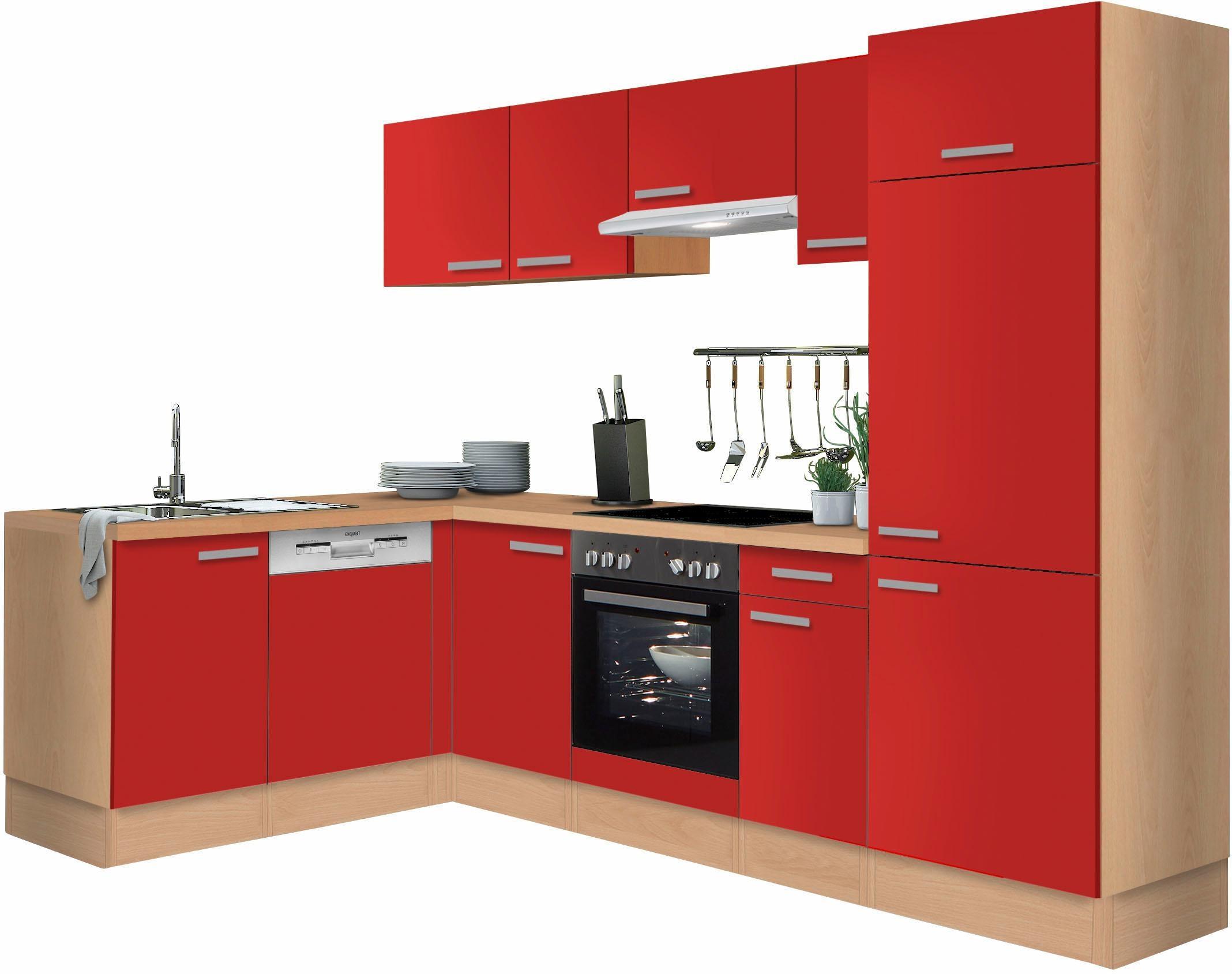 Optifit Winkelküche ohne E-Geräte »Odense«, Breite 275 x 175 cm   Küche und Esszimmer > Küchen > Winkelküchen   Rot   Nachbildung - Buche - Edelstahl - Melamin   OPTIFIT