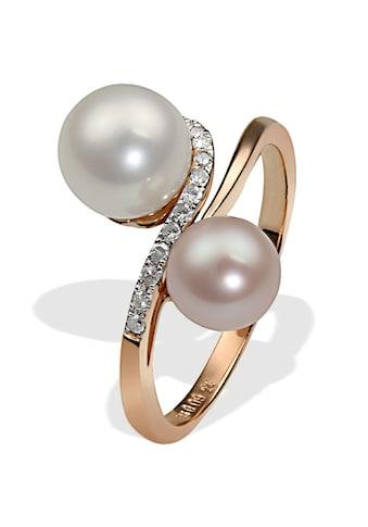 goldmaid Damenring 585/- Rotgold 2 Perlen 14 Dia. 0,09ct SI1/H kaufen