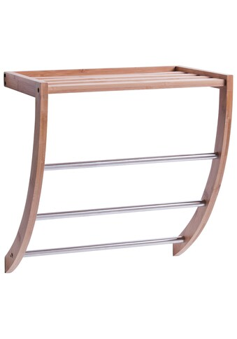ZELLER Wandregal »Handtuchregal«, Bambus/Metall verchromt, 38x24x40 cm kaufen