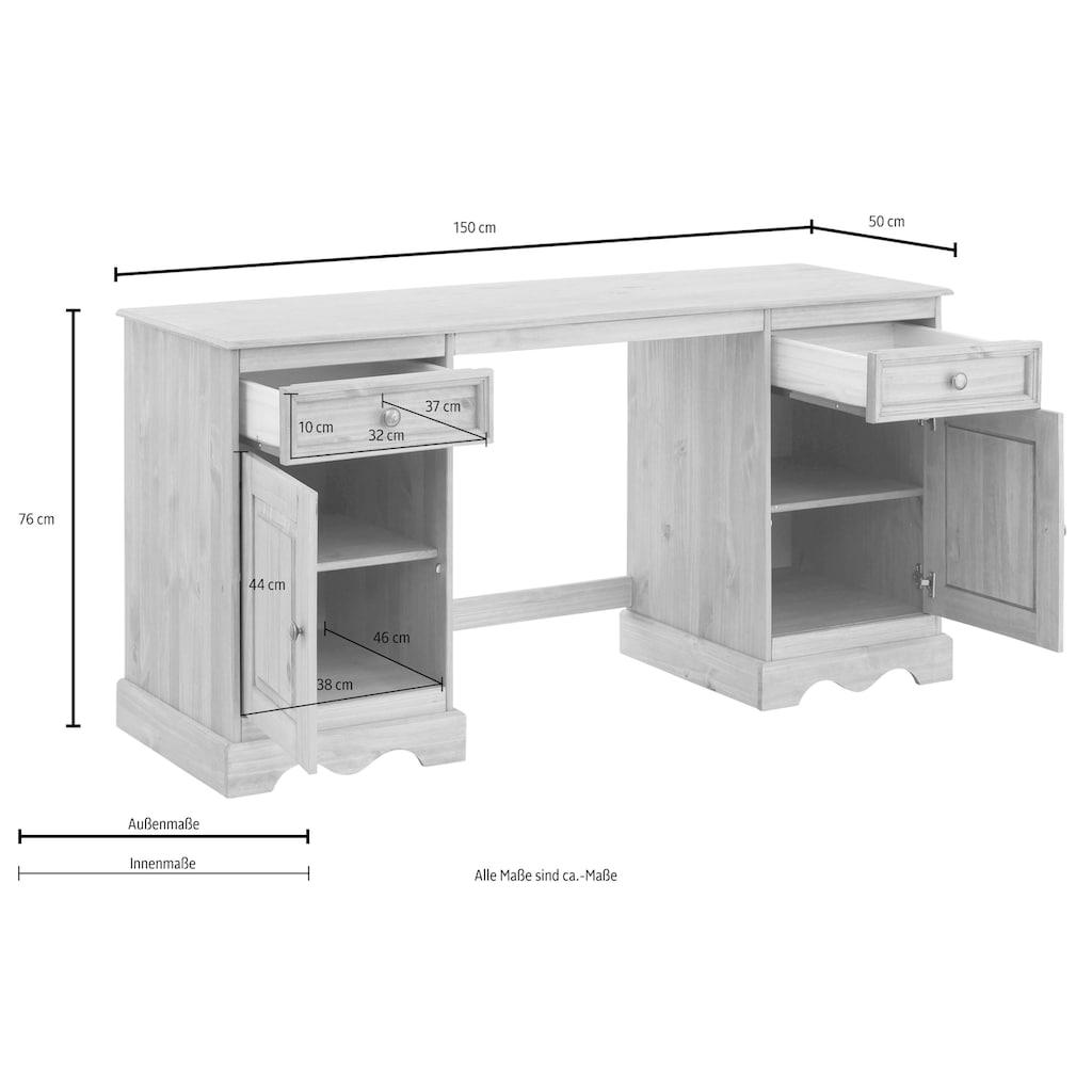 Home affaire Schreibtisch »Melissa«, aus schönem massivem Kiefernholz, Breite 150 cm