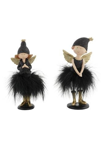 Engelfigur, mit Mütze und Kunstfederrock, beglimmert, 19 cm und 21 cm kaufen
