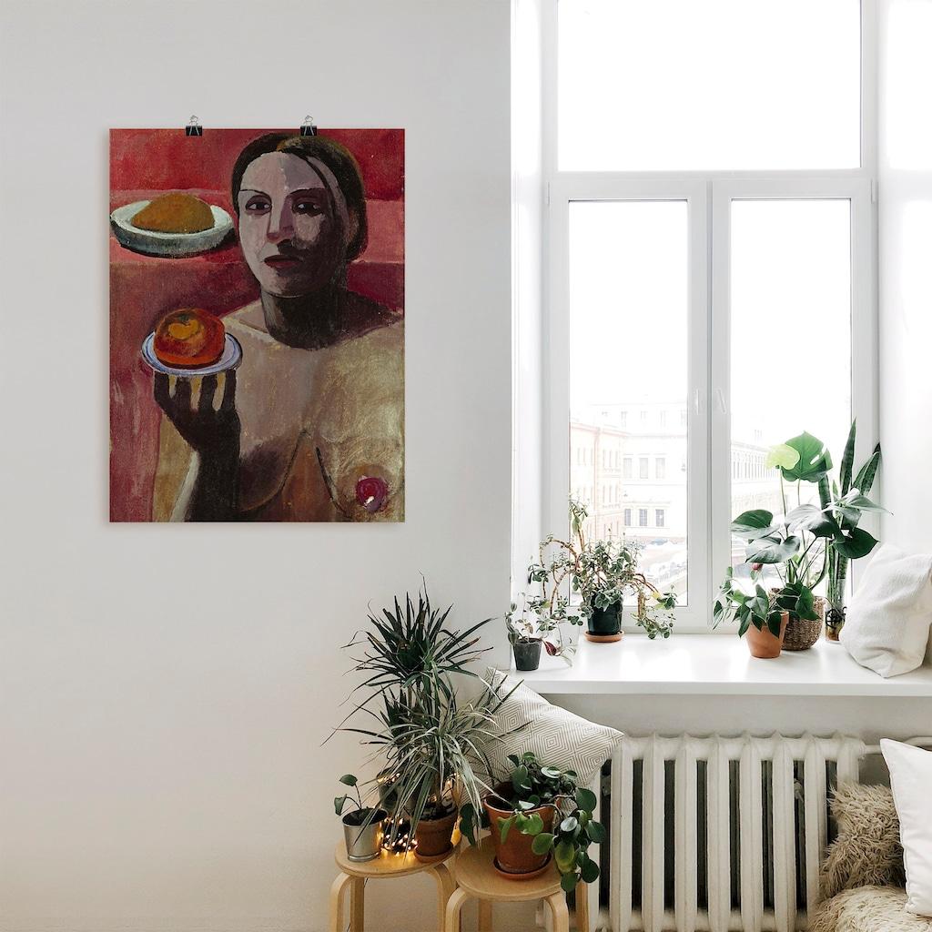 Artland Wandbild »Halbakt einer Italienerin mit Teller«, Frau, (1 St.), in vielen Größen & Produktarten -Leinwandbild, Poster, Wandaufkleber / Wandtattoo auch für Badezimmer geeignet