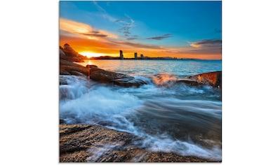 Artland Glasbild »Sonnenuntergangszeit am Hua-Hin Strand«, Gewässer, (1 St.) kaufen