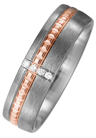 JOBO Diamantring, Titan matt mit 750 Roségold mit 4 Diamanten kaufen