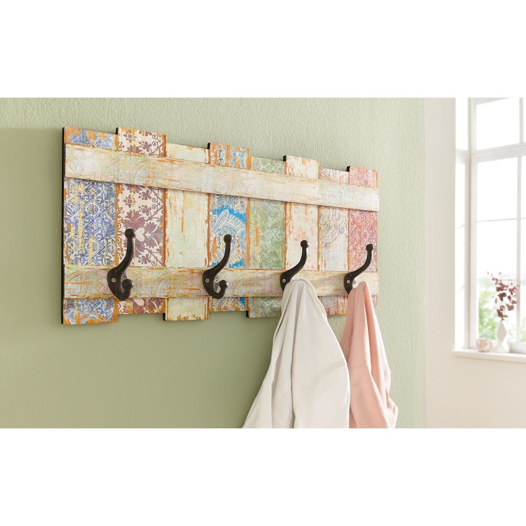 Home affaire Hakenleiste »Pastell«, Garderobe mit 4 Kleiderhaken, Pastell-Farben, Shabby Look