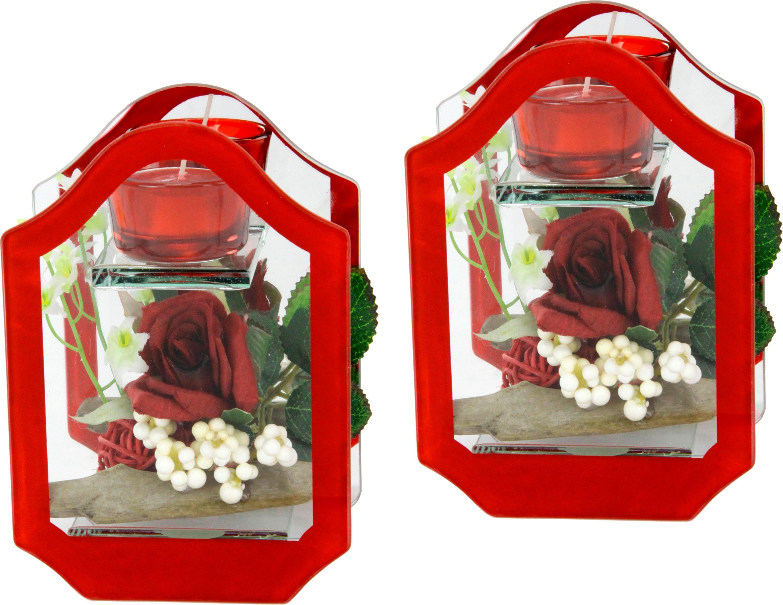 Kunstblume Rose im Glas mit Teelicht (2er Set)   Dekoration > Dekopflanzen > Kunstpflanzen   Rot   Glas