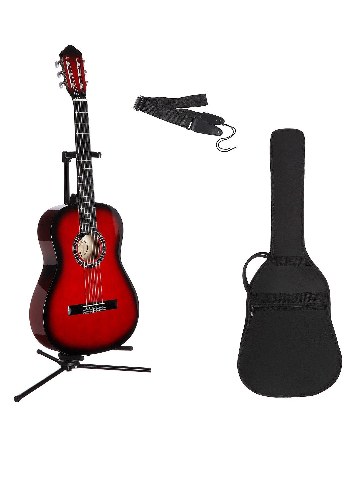 Gitarrenset Konzertgitarre, 1/4, inkl. Gitarrentasche und Gitarrengurt rot Gitarre Musikinstrumente