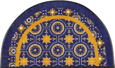 wash+dry by Kleen-Tex Fußmatte »Round Azulejo«, halbrund, 7 mm Höhe, Fussabstreifer,... kaufen