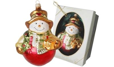 Krebs Glas Lauscha Christbaumschmuck »Schneemann mit Schal und Geschenken«, (1 tlg.),... kaufen