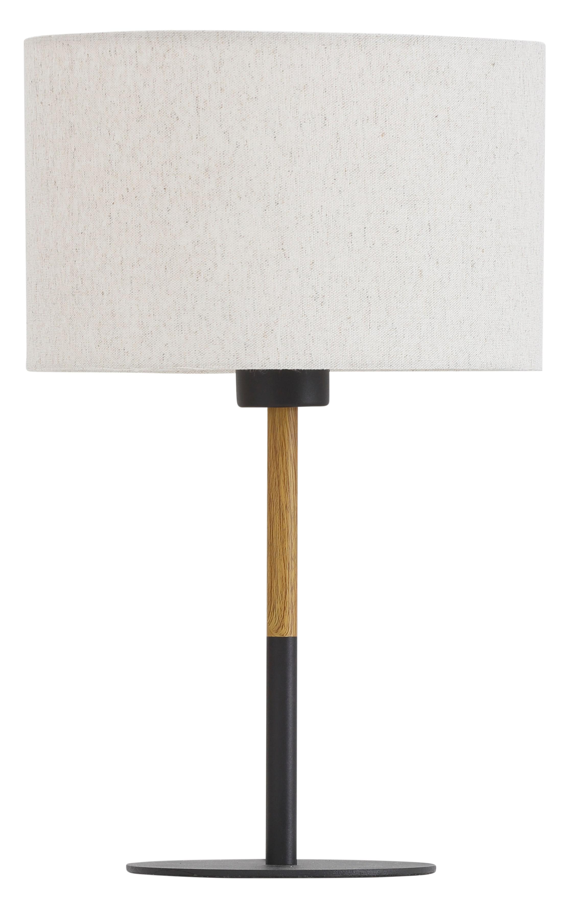 Home affaire Tischleuchte San Marina, E27, 1 St., Tischlampe mit zweifarbigem Fuß in schwarz / holzfarben und Leinenschirm / Stoff - Schirm beige Ø 25 cm, Höhe 40 cm