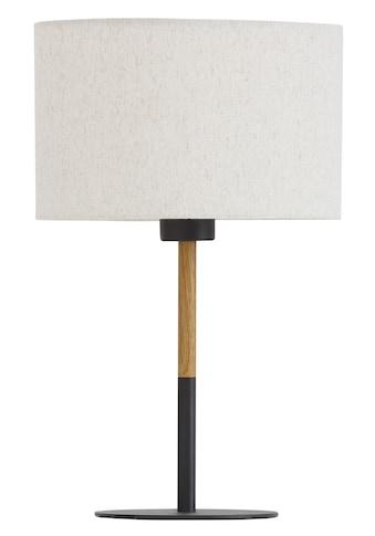Home affaire Tischleuchte »San Marina«, E27, 1 St., Tischlampe mit zweifarbigem Fuß in schwarz / holzfarben und Leinenschirm / Stoff - Schirm beige Ø 25 cm, Höhe 40 cm kaufen
