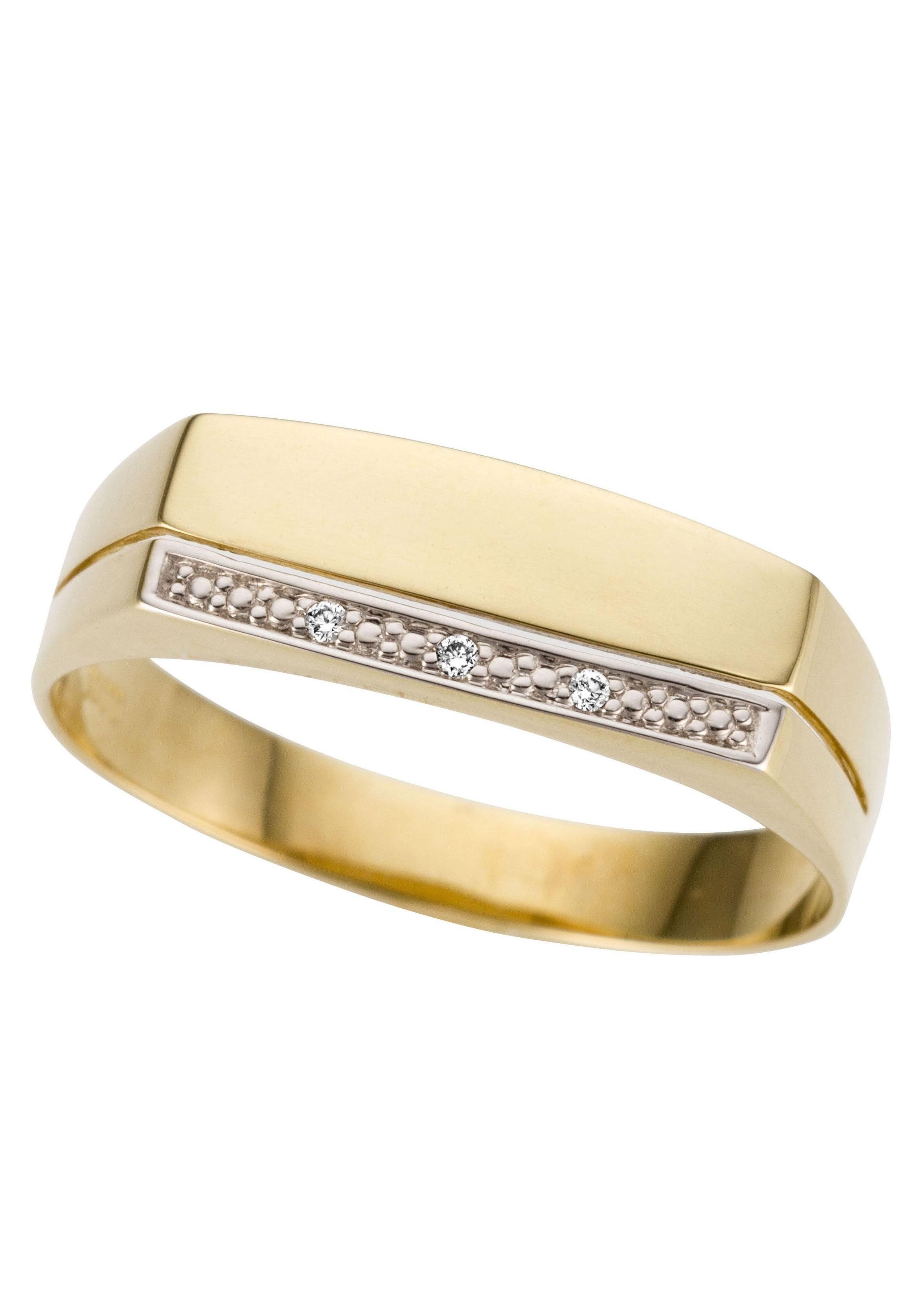 Firetti Goldring Siegelring bicolor glanz rhodinierte Fassung massiv Längsfuge | Schmuck > Ringe > Siegelringe | Goldfarben | Firetti