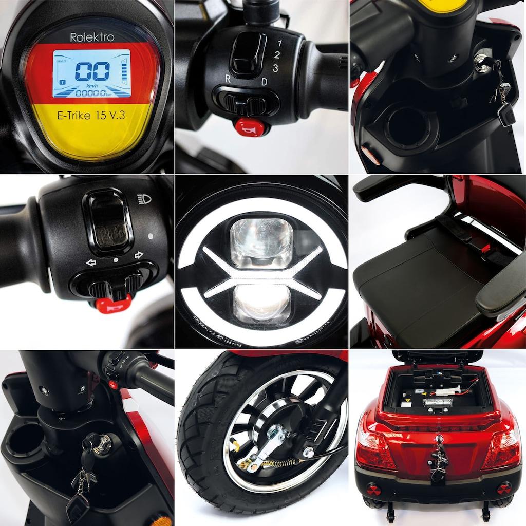 Rolektro Elektromobil »Rolektro E-Trike 15 V.3 Lithium«, 1000 W, 15 km/h, (mit Topcase)
