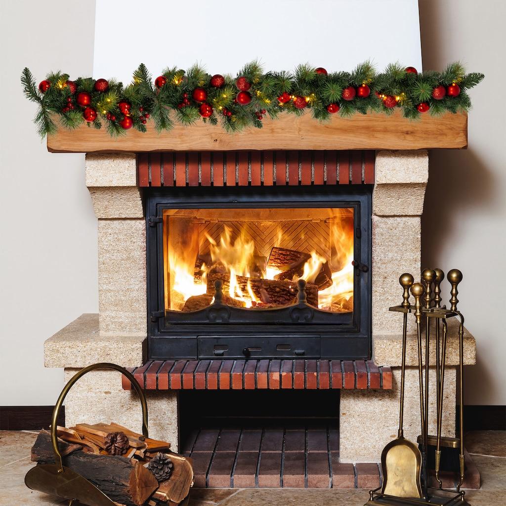 näve LED-Lichterkette »LED-Weihnachtslichterkette mit Dekoration l: 100cm - rot«, 20 St.-flammig, Timer