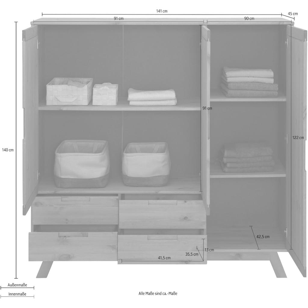 Home affaire Wäscheschrank »Ohio«, aus massivem Kiefernholz, mit eingefrästen Griffmulden, Breite 141 cm