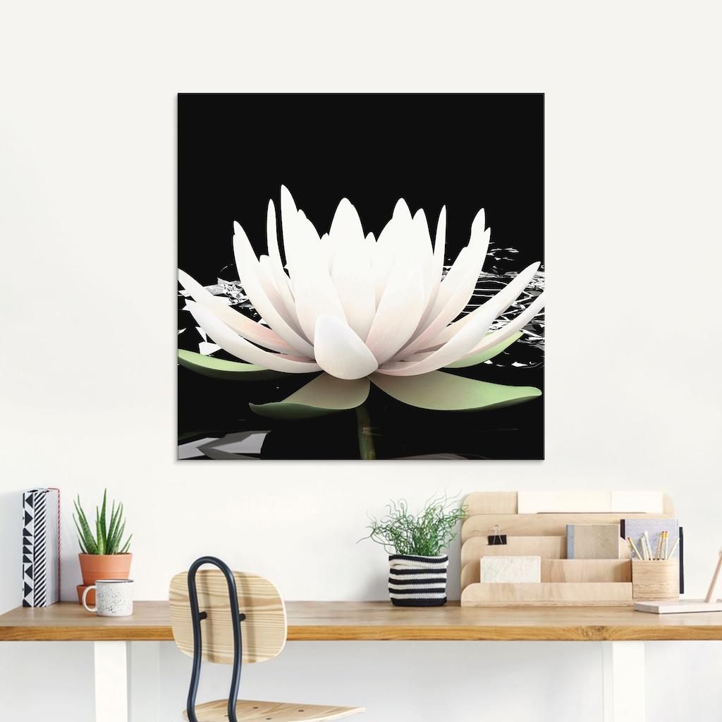 Artland Glasbild »Zwei Lotusblumen auf dem Wasser«, Blumen, (1 St.)