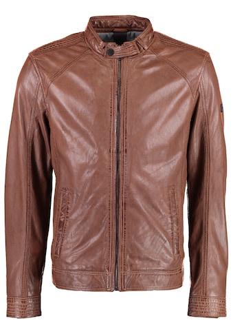 DNR Jackets Herren Lederjacke mit Stehkragen und Eingrifftaschen kaufen