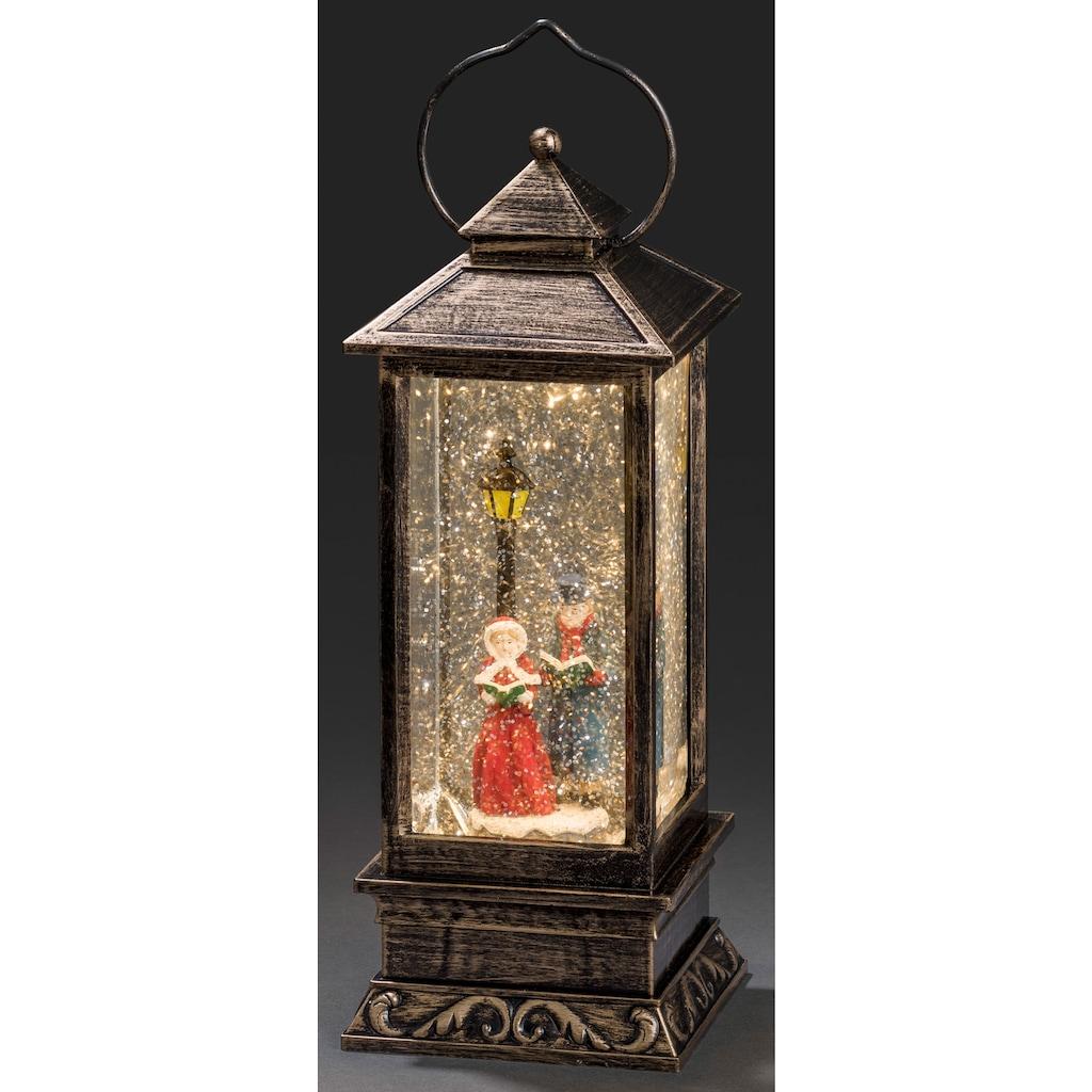 KONSTSMIDE LED Dekolicht, Warmweiß, LED Schneelaterne Charles Dickens Style für den Innenbereich, 5h Timerfunktion, wassergefüllt, 1 warmweiße Diode, batteriebetrieben